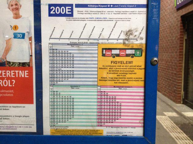 200E bus timetable