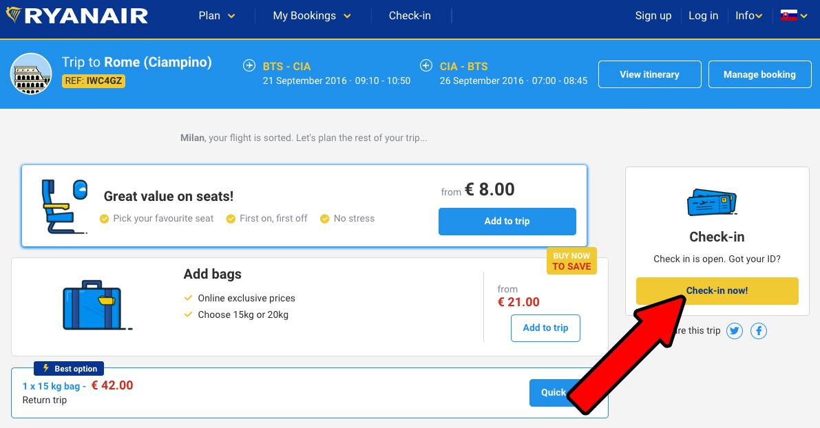 Ryanair online check-in postup