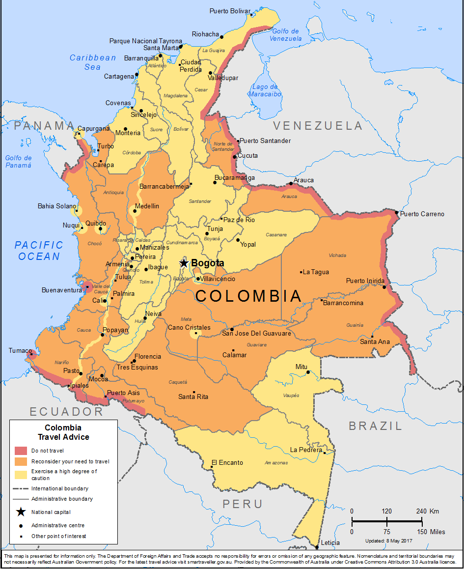 mapa bezpečnosti v kolumbii