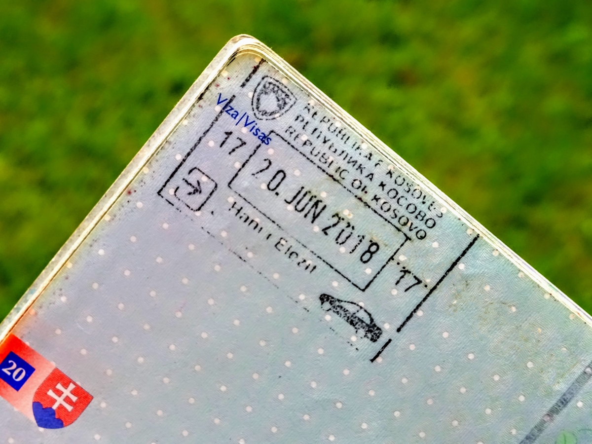 Kosovan passport stamp