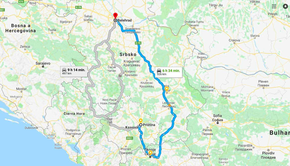Cestovanie z Kosova do Srbska autom