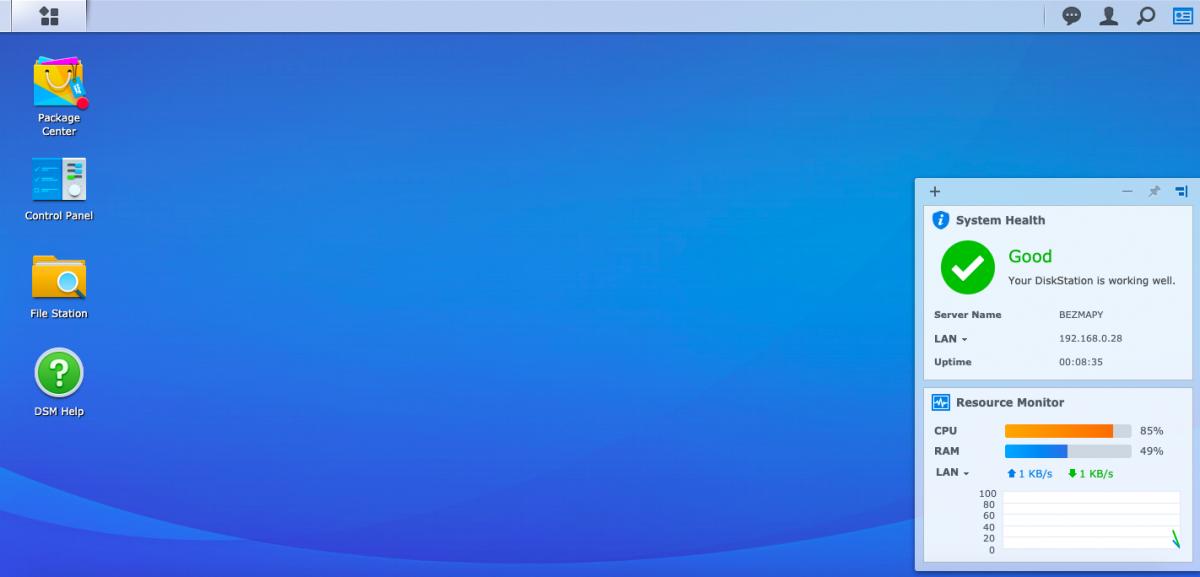 DS119j domovska obrazovka