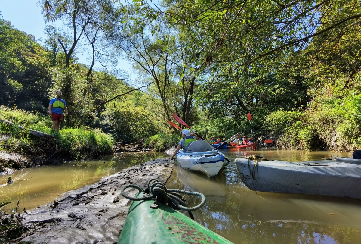 Splav rieky Pinka v Burgenlande na kajaku